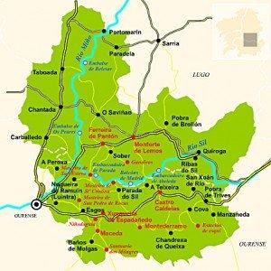 Mapa de la Ribeira Sacra - Galicia
